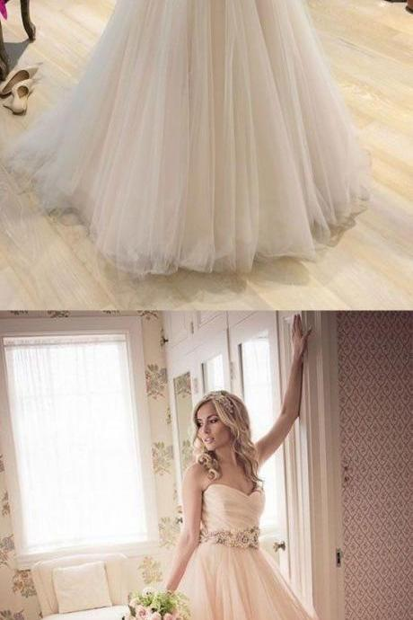 Custom made A line tulle long prom dress, wedding dress
