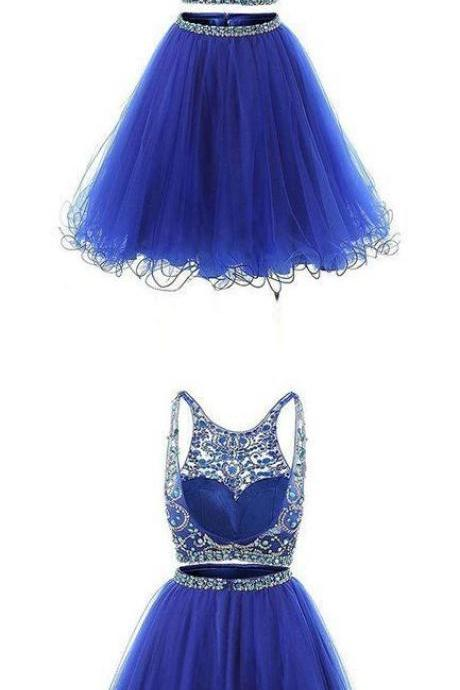 Blue two pieces tulle sequin beads short prom dress, blue homecoming