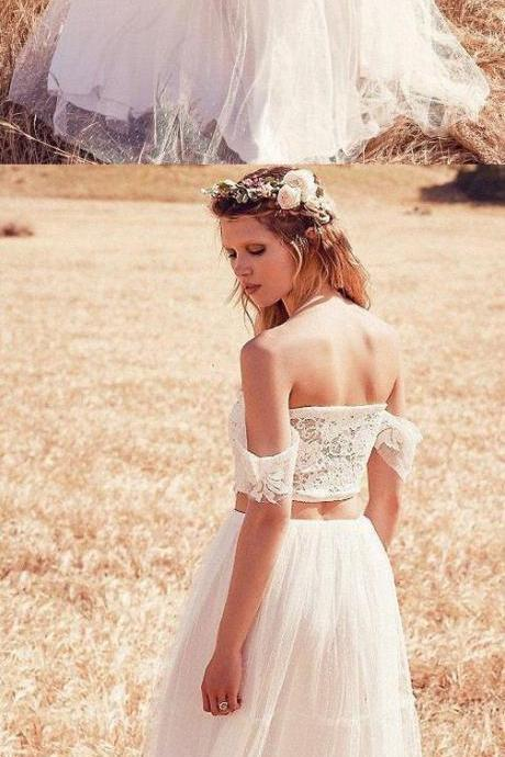 Short Sleeve Dresses Long Ivory Wedding Dresses With Lace Zipper Floor-length Soft Wedding Dresses
