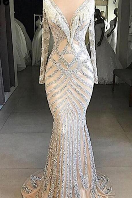 Couture Mermaid Evening Dress 2018 Beaded Tassel Muslim Turkish Dubai Party Gown Robe De Soiree Arabic African Long Prom Dresses