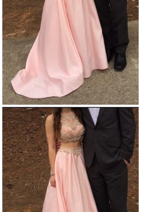 New Arrival 2 Piece Prom Dress,Sexty Beaded Prom Dress,Long Prom Dress,Wedding Party Dress