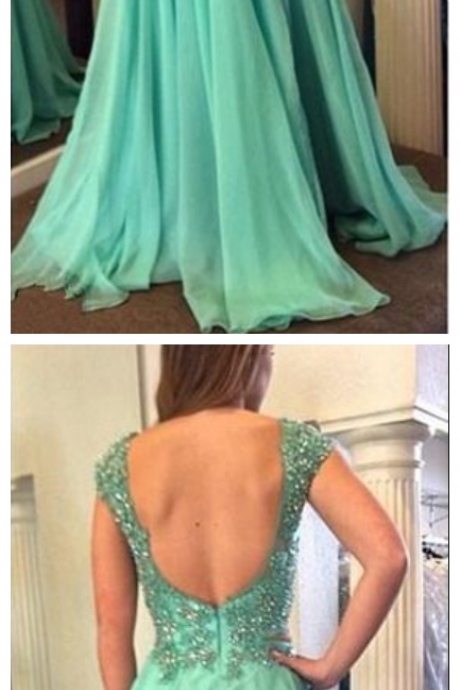2 Piece Long Chiffon Prom Dress Open Back Beaded Women Dress