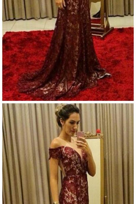 chic burgundy lace mermaid prom dresses, elegant off the shoulder evening gowns, unique sweep train party dresses