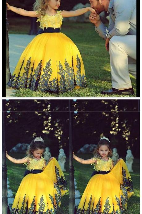 Flower Girl Dresses,Handmade Princess Flower Girl Dress,Kids Birthday Dress,Lovely Girl Yellow Lace Dress for Wedding Party
