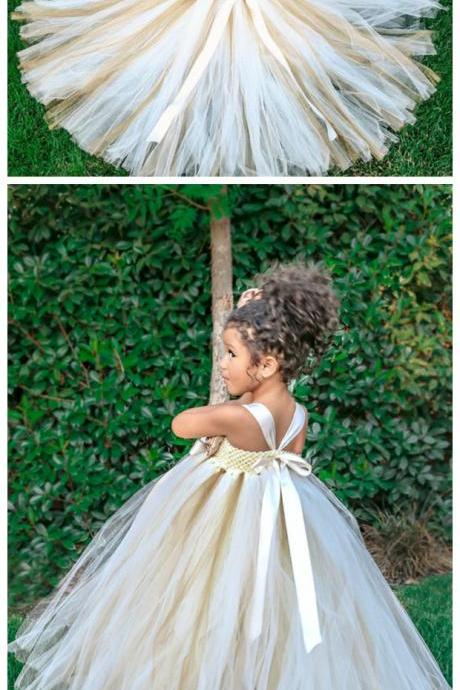 Tulle Flower Girl Dress,Flower Girl Dresses,Little Girl Bridesmaid Dresses,Girl Pageant Gowns,Wedding Party Gowns,Kids Evening Dresses,Rusti