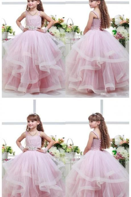 Pink Ball Gown Flower Girl Dresses Spaghetti Beaded Sash Ruffles Girls Pageant Dresses Baby Party Gowns