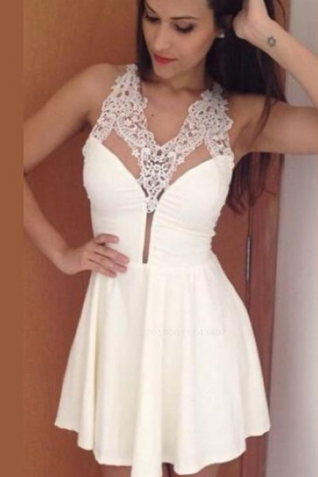 Custom Made Prom Dress, Prom Dress For Cheap, Prom Dress White, Prom Dress Short, Prom Dress Lace