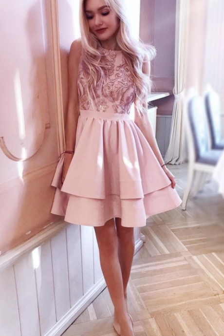 pink tiered homecoming party dress with appliques, fashion semi formal gowns for juniors