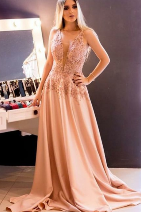 Gorgeous A Line V Neck Sleeveless Sweep Train Blush Satin Prom Dress with Appliques